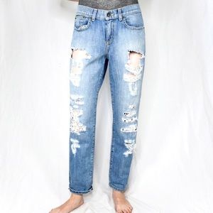 CARMAR • DISTRESSED FLORAL LACE CUT OUT BOYF JEANS